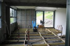 travaux en cours pour l'extension d'une maison d'architecte