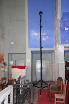 Relevé numérique intérieur photogrammétrie Drones de l'Eglise de Brancourt en Laonnois par le Cabinet C.T.A Caroline Thibault Architecte Utilisation d'un mât photogrammétrique 8,00 m de haut