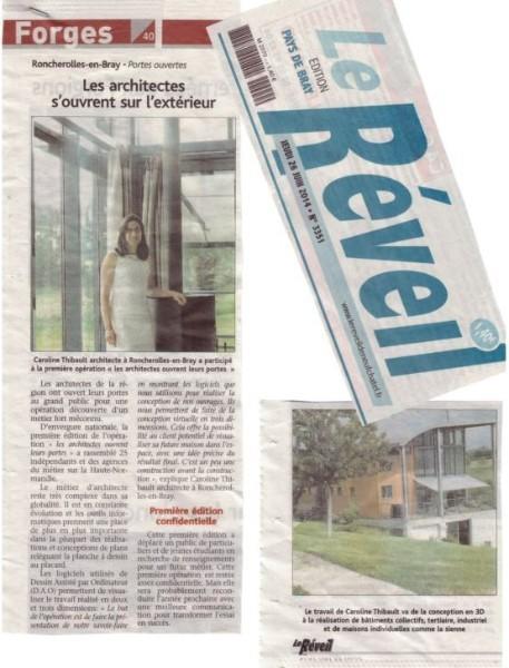 Article de presse suite journées portes ouvertes agence Caroline Thibault Architecte à Forges les Eaux