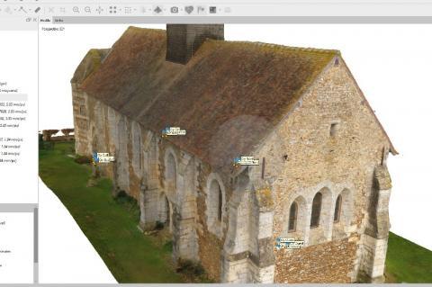 Modèle maquette 3D numérique de l'Eglise classée de Vitotel grâce à la technique de la photogrammétrie
