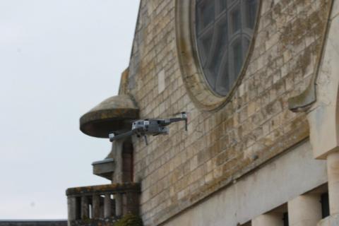 Relevé numérique par drones photogrammétrie Drones Eglise par le Cabinet C.T.A Caroline Thibault Architecte