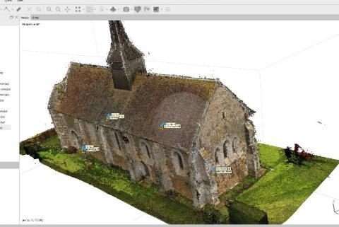 Photogrammétrie drones Modélisation 3D de l'Eglise de Vitotel par Caroline Thibault Architecte