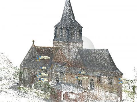 Nuage de points Modèle 3D numérique par drone photogrammétrie par le cabinet C.T.A (Caroline THIBAULT Architecte)