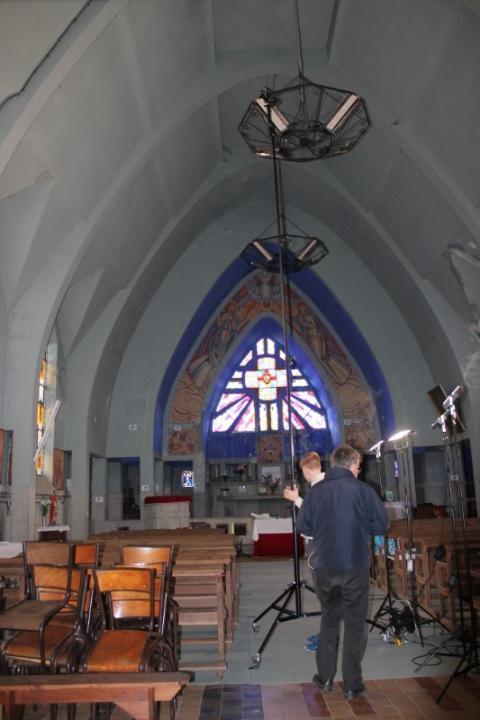 Relevé numérique intérieur photogrammétrie intérieur nef de l'Eglise de Brancourt en Laonnois par le Cabinet C.T.A Caroline Thibault Architecte Utilisation d'un mât photogrammétrique 8,00 m de haut