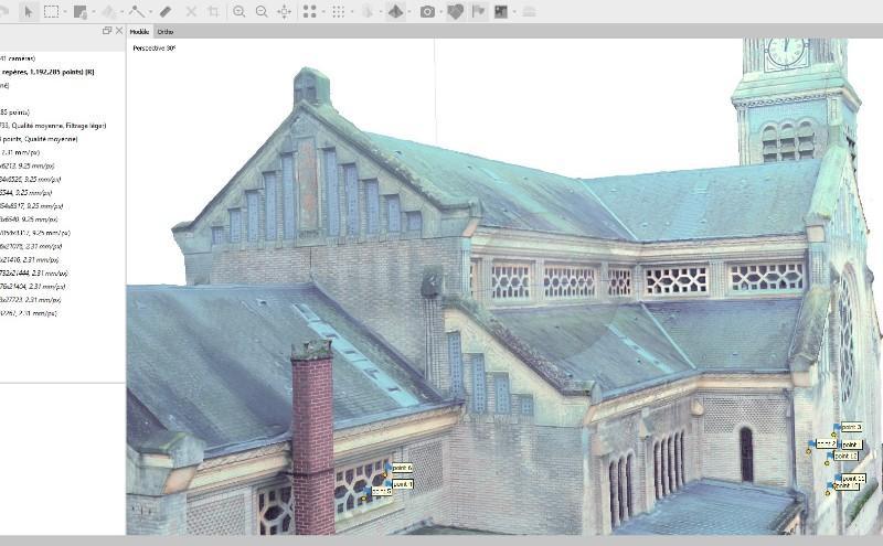Photogrammétrie (Relevé  par drone) de l'Eglise Saint-Didier de Chaulnes)