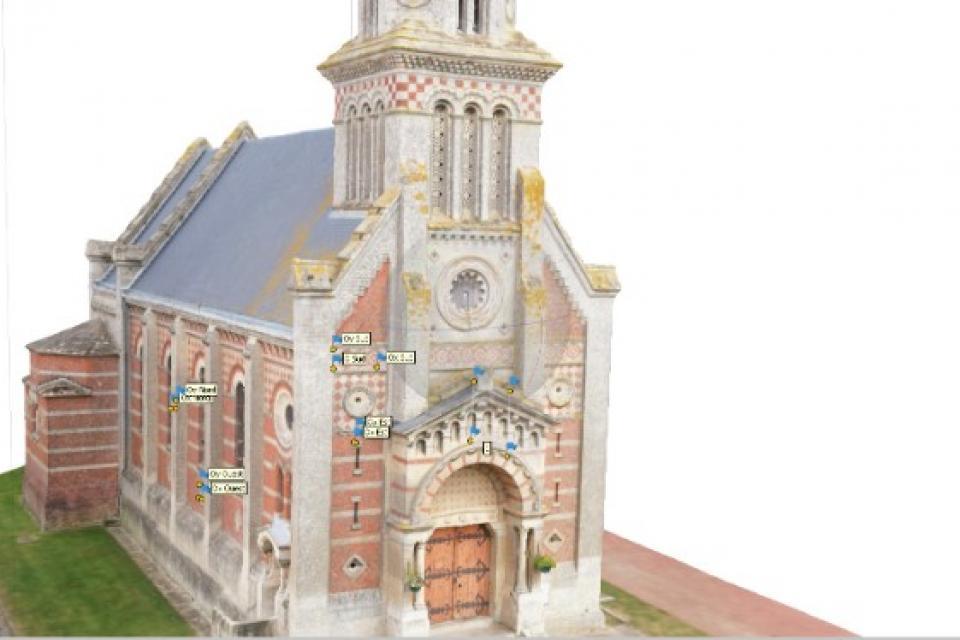 Numérisation grâce à la photogrammétrie de l'église Saint-Vaast de Cardonnette